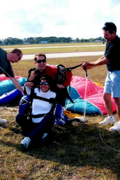 Justin and Sabina Baker after landing from tandem skydive